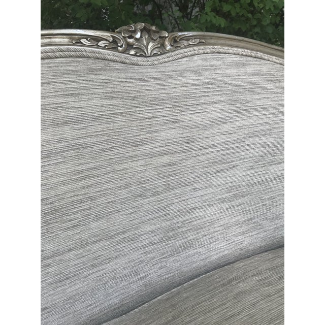 Gray Silver Leaf French Settee For Sale - Image 8 of 11