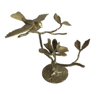 Brass Brid on Branch Candle Holder For Sale