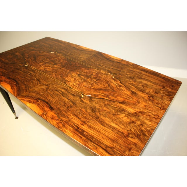 1940s French Art Deco Exotic Burl Walnut Writing Desk / Dining Table For Sale - Image 10 of 13