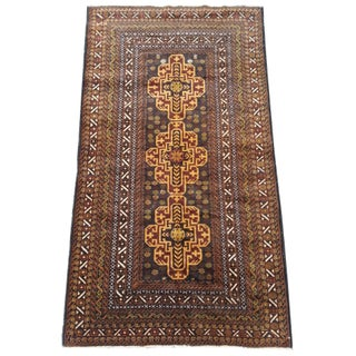 Hand Woven Wool Rug - 4' x 6' For Sale
