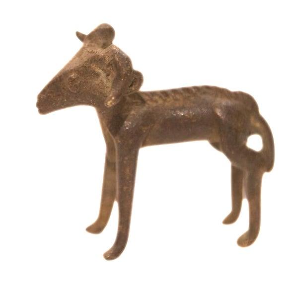 Vintage Dark Ram Curled Horn Bronze Gold Weight For Sale