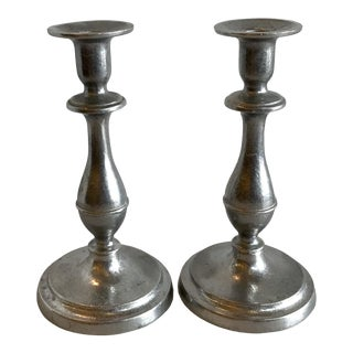 Vintage Wilton Pewter Candlesticks - a Pair For Sale