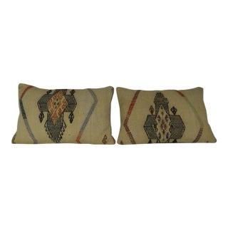 Turkish Kilim Lumbar Pillows - a Pair For Sale