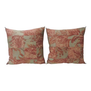 "Pair of Vintage Patchwork Fortuny ""Glicine"" Pattern Red and Silvery Pillows For Sale"