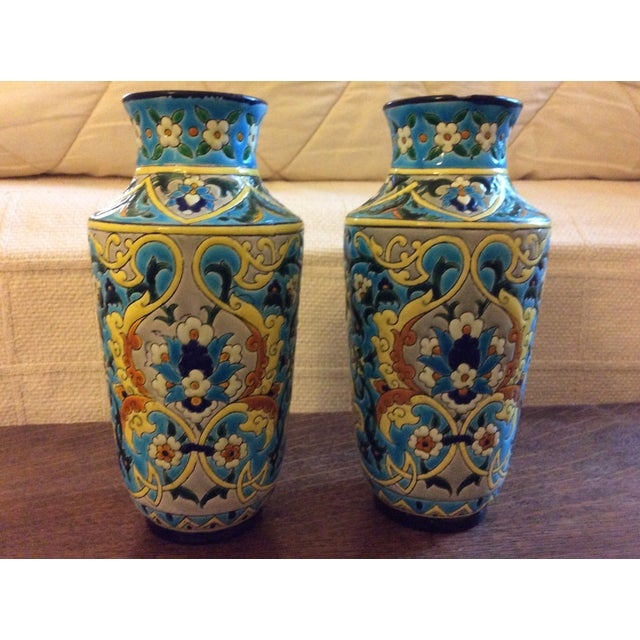19th Century French Enameled Longwy Vases - a Pair For Sale - Image 12 of 12