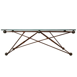 Custom Industrial Sculptural Iron Coffee Table For Sale