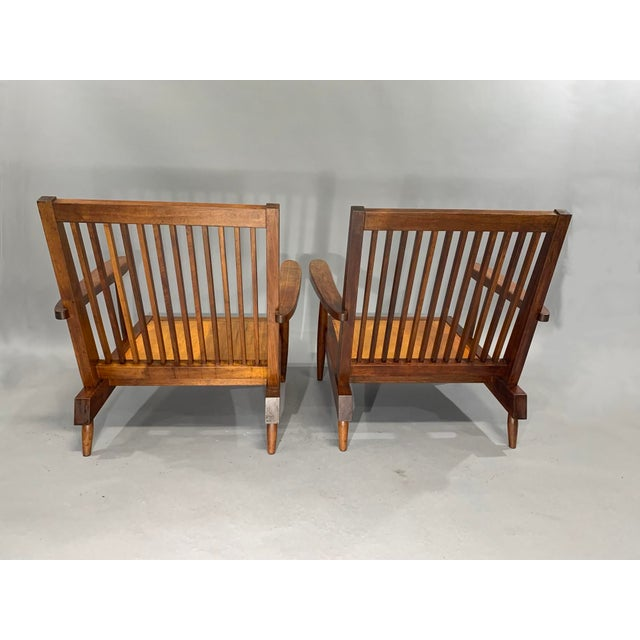 George Nakashima Pair of Spindle Back Lounge Chairs For Sale - Image 12 of 13
