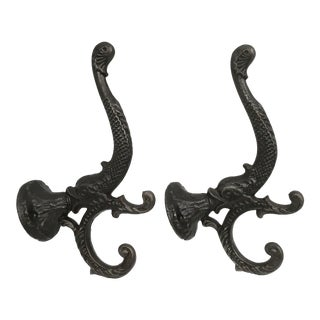Antique Iron Koi Fish Coat Hooks - A Pair