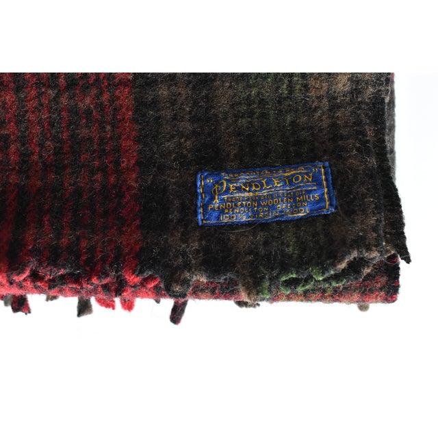 Mid-Century Modern Vintage Pendleton Woolen Mills Red & Green Plaid Wool Blanket For Sale - Image 3 of 6