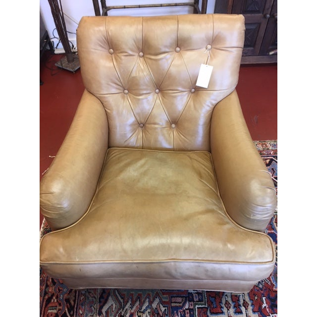 1960s Vintage Beige Tufted Back Leather Chairs- a Pair For Sale In New York - Image 6 of 7