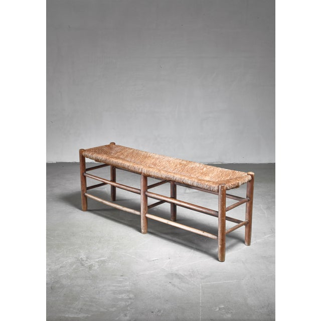 Steph Simon Charlotte Perriand Wood and Rush Bench, France, 1960s For Sale - Image 4 of 4