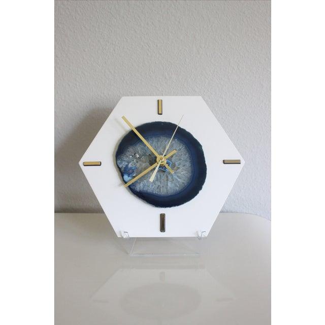 Modern Navy Blue SoLo Agate Large Desk Clock - Image 2 of 7