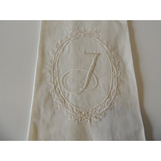 """Vintage """"J"""" Letter Embroidered Bathroom Guest Towel Linen and silk. Size: 20 x 13 x 0.03"""