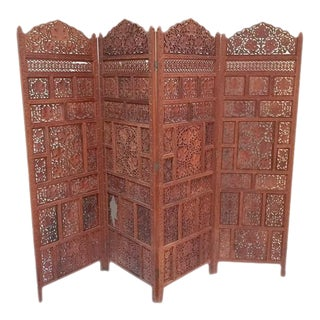"Mid Century Teak Folding Screen Anglo Indian 4 Panel Privacy Screen 80"" For Sale"