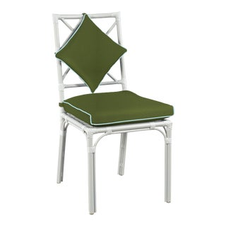 Haven Outdoor Dining Chair, Palm and Mineral Blue For Sale