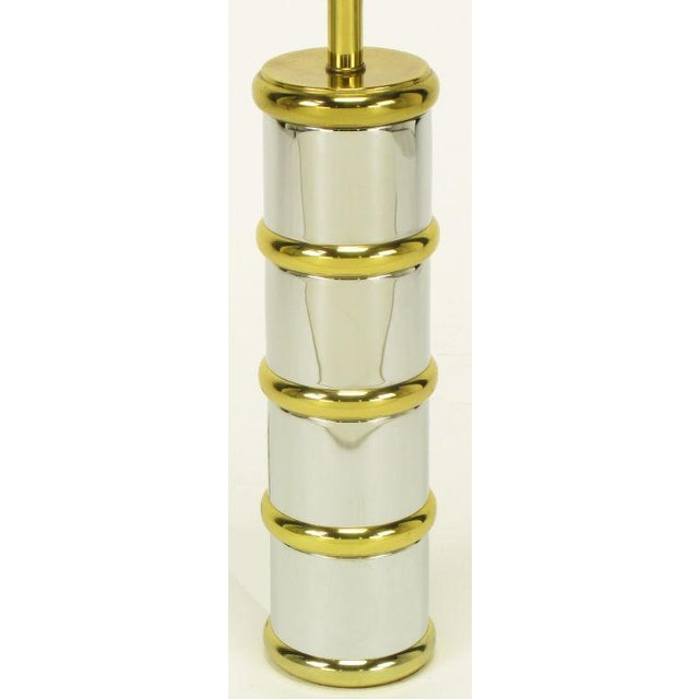 Chrome & Brass Segmented Column Table Lamp. For Sale - Image 4 of 6