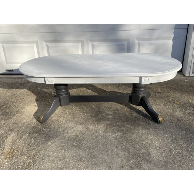 Vintage Rustic Painted Oval Coffee Table For Sale - Image 12 of 12