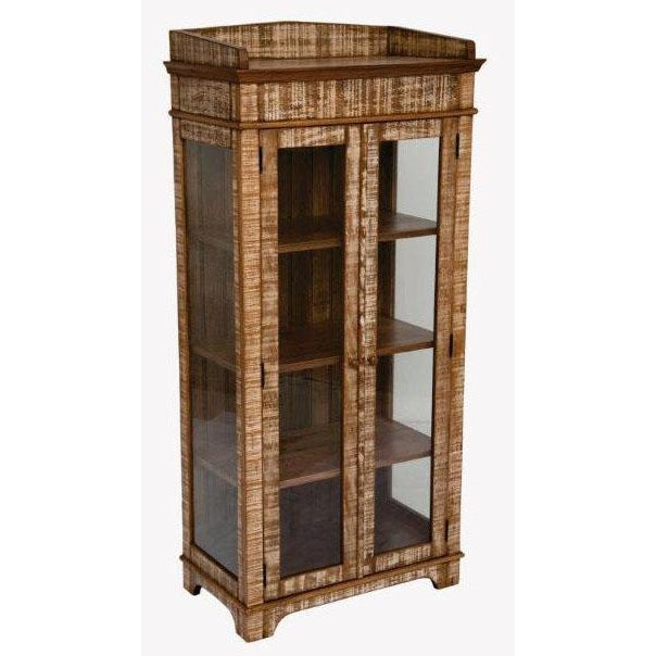 Perfectly suited for small spaces, this stylish curio cabinet is accented with an elegant design and a distressed finish...