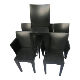 Philippe Starck Kartell Miss Global / Super Glob Black Plastic Chairs - Set of 6 For Sale