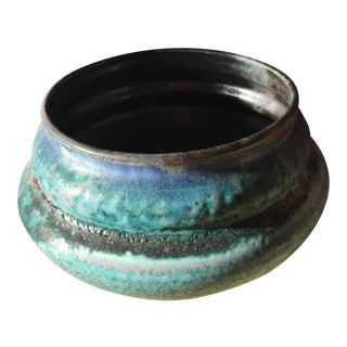 Studio Pottery Blue Textured Bowl For Sale