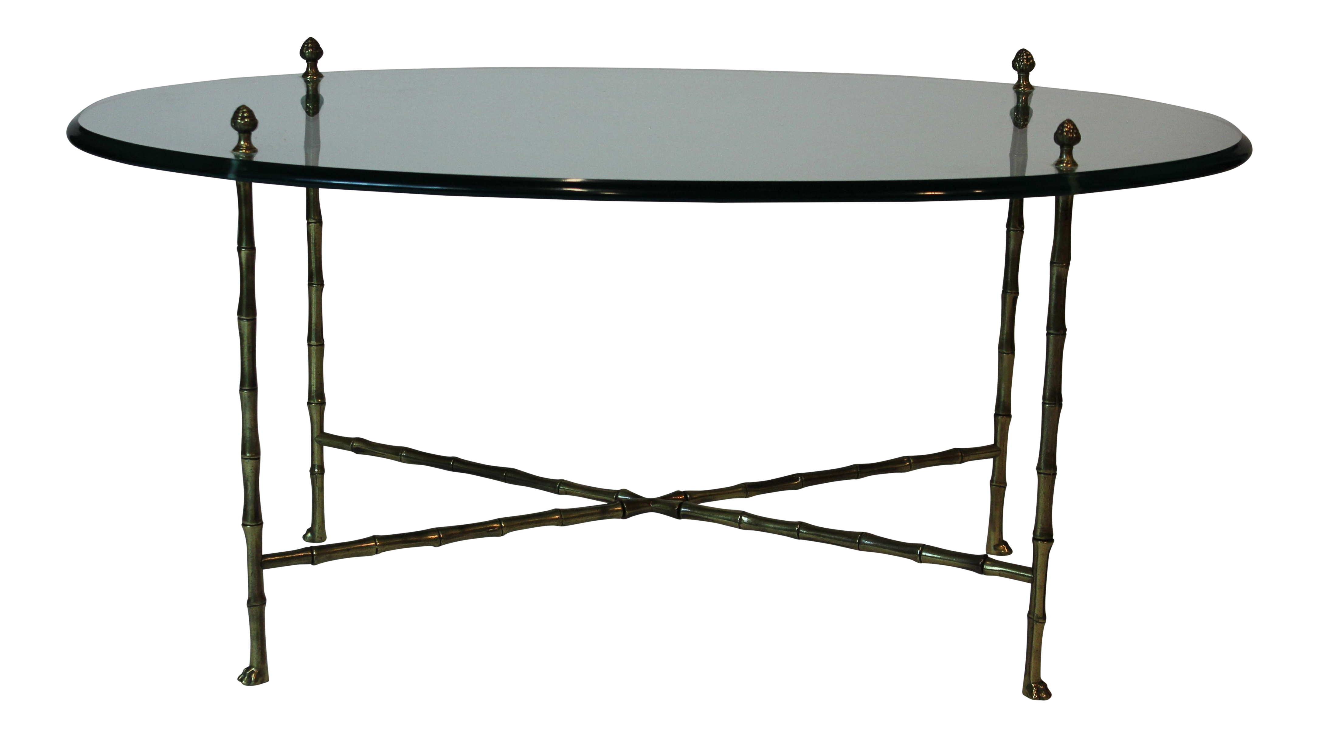 brass coffee table. Maison Jansen Oval Glass And Faux Bamboo Brass Coffee Table