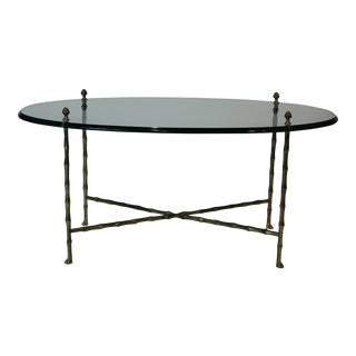 Maison Jansen Oval Glass and Faux Bamboo Brass Coffee Table