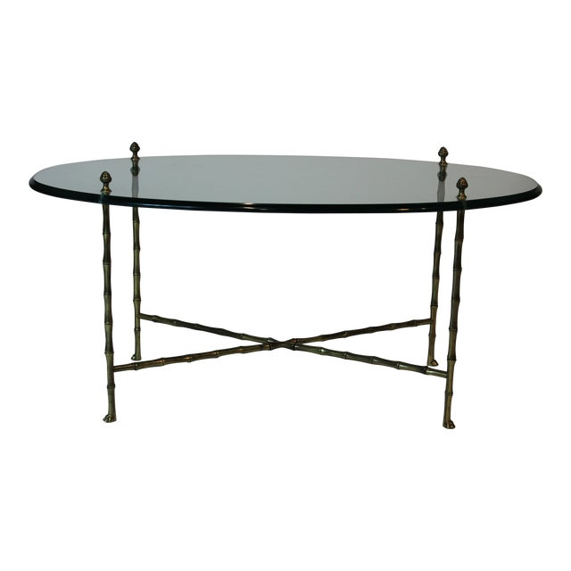 Maison Jansen Oval Glass and Faux Bamboo Brass Coffee Table For Sale