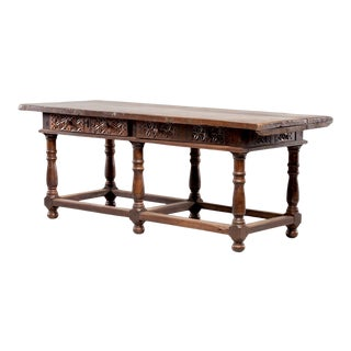 18th Century Portuguese All Original Carved Walnut Table With Drawers For Sale