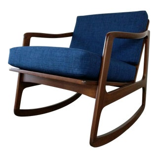 Mid Century Danish Rocker Refinished and New Cushions For Sale