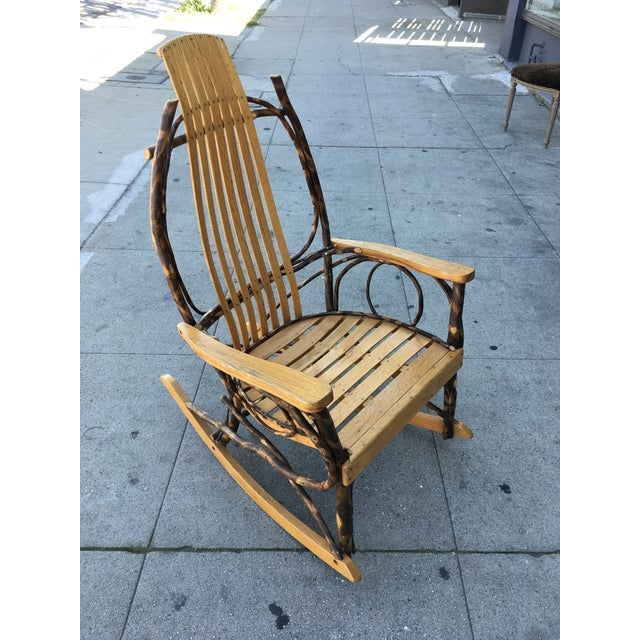 Late 20th Century Rustic Adirondack Oak and Hickory Twig Rocking Chair For Sale - Image 11 of 11