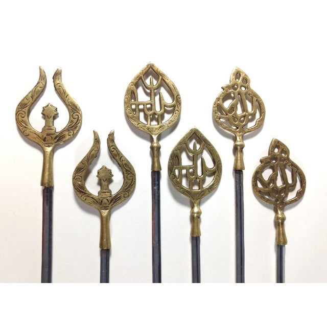 Set of 6 Turkish style kebob skewers Marked on blade inoxidable (stainless) with no other markings but appear to be...