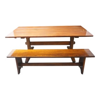 Arts and Crafts Solid Walnut Slab Dining Table and Bench