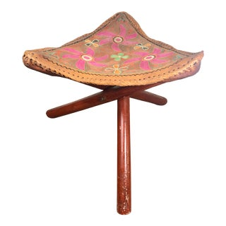 Indian Floral Hand Embroidered Leather Tripod Stool For Sale