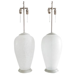 Pair of Frosted Glass Lamps For Sale