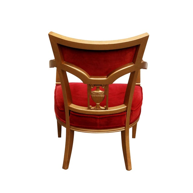 Statesville Chair Company Royal Throne Chair in Red & Gold For Sale - Image 4 of 8
