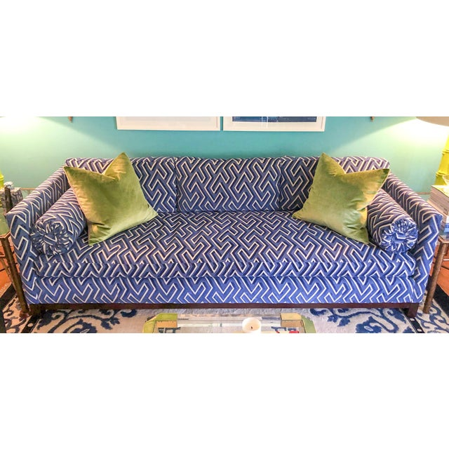 "97"" Scalamandre Cut Velvet Down Filled Mitchell Gold Sofa For Sale - Image 10 of 10"