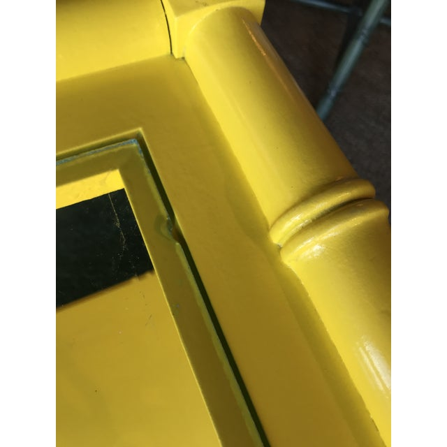 1970s Lacquered Yellow Faux Bamboo and Fretwork Console Table For Sale - Image 5 of 13