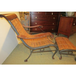 1980s Vintage Wrapped Bamboo & Rattan Chair & Ottoman Preview