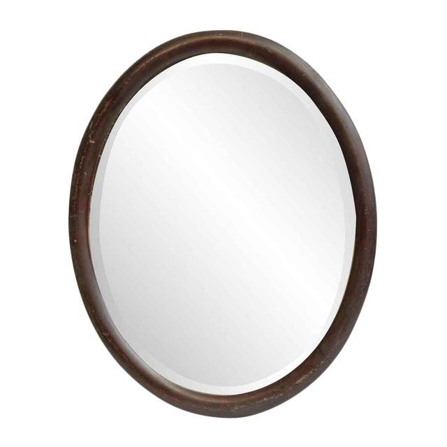 Oval Wood Frame Beveled Mirror