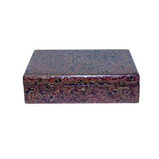 Handmade Orange Multi-Layer Lacquer Abstract Pattern Wood Box For Sale