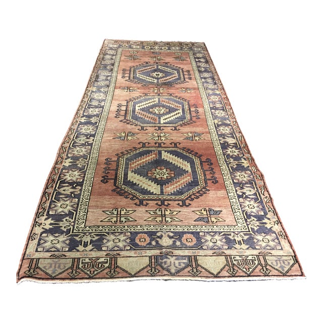 "Vintage Turkish Oushak Runner - 4'4""x9'11"" - Image 1 of 10"