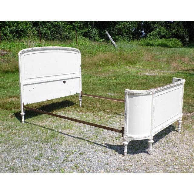 Cottage Antique Solid Wood White Painted Cottage Shabby Chic Double Full Bed C.1920's For Sale - Image 3 of 13