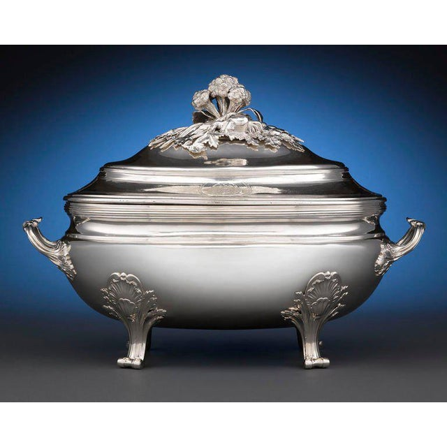Crafted by French master silversmith Jean-Baptiste-François Chéret, this period Louis XV tureen boasts exceptional...