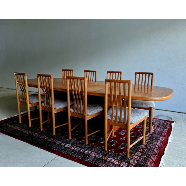 Boho Chic 1970s Danish Modern Teak Dining Table + 8 Chairs For Sale - Image 3 of 13