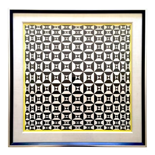 "Edna Andrade Rare Vintage 1969 Mid Century Modern Framed Op Art Lithograph Print "" Black Diamond "" 1967 For Sale"