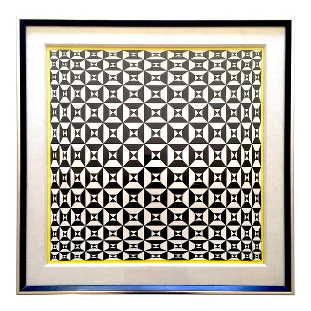 "Edna Andrade Rare Vintage 1969 Mid Century Modern Framed Op Art Lithograph Print "" Black Diamond "" 1967 For Sale"
