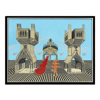 Framed Surrealistic Painting by Pedro Friedeberg For Sale