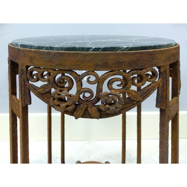 Paul Kiss French Art Deco Wrought Iron Marble Top Tables by Paul Kiss - A Pair For Sale - Image 4 of 11