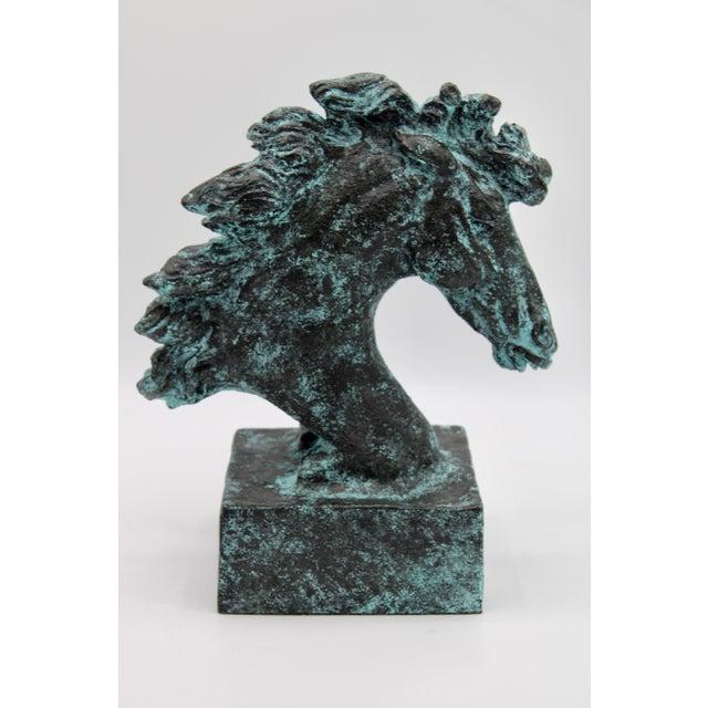 Verdigris Wild Mustang Horse Head Statue For Sale - Image 12 of 13
