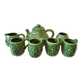 Majolica Bunnies Coffee Set - Set of 7